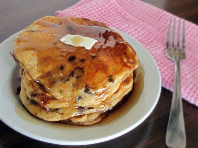 Whole Wheat Peanut Butter & Chocolate Chip Pancakes